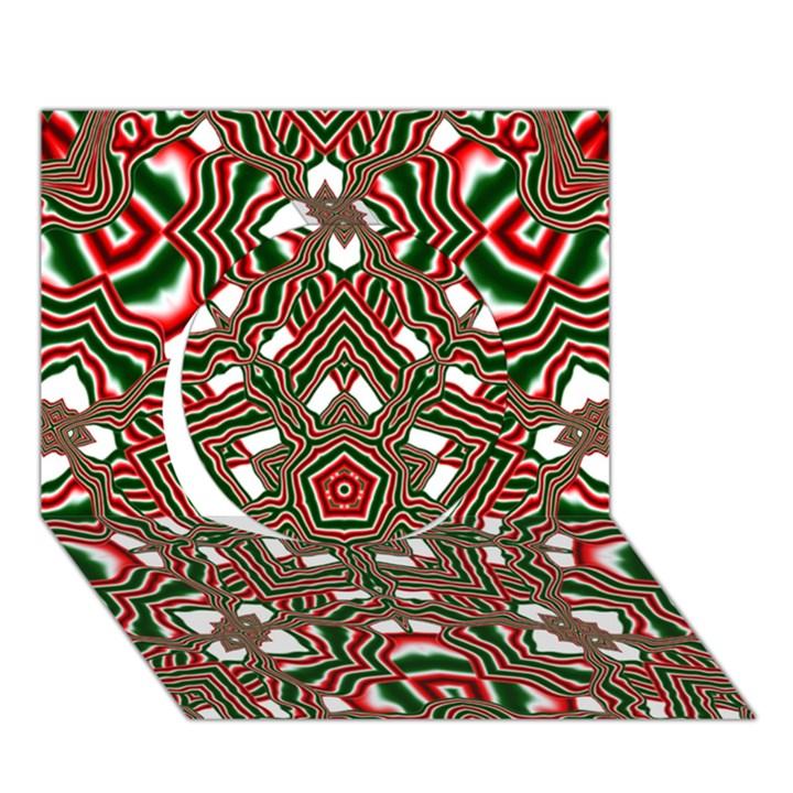 Christmas Kaleidoscope Circle 3D Greeting Card (7x5)