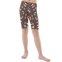 Christmas Kaleidoscope Kids  Mid Length Swim Shorts