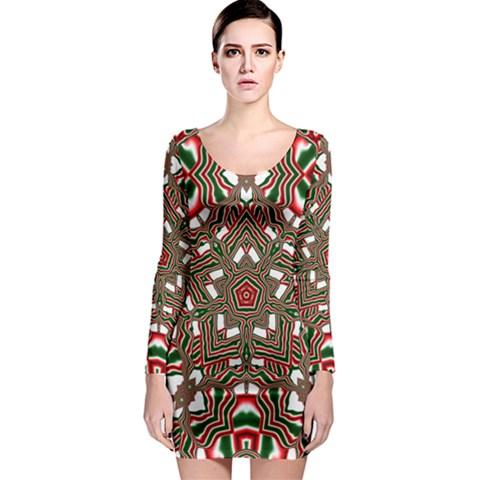 Christmas Kaleidoscope Long Sleeve Bodycon Dress