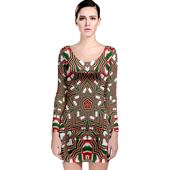 Christmas Kaleidoscope Long Sleeve Bodycon Dress