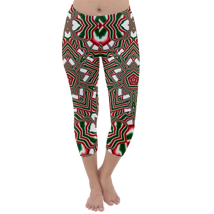 Christmas Kaleidoscope Capri Winter Leggings