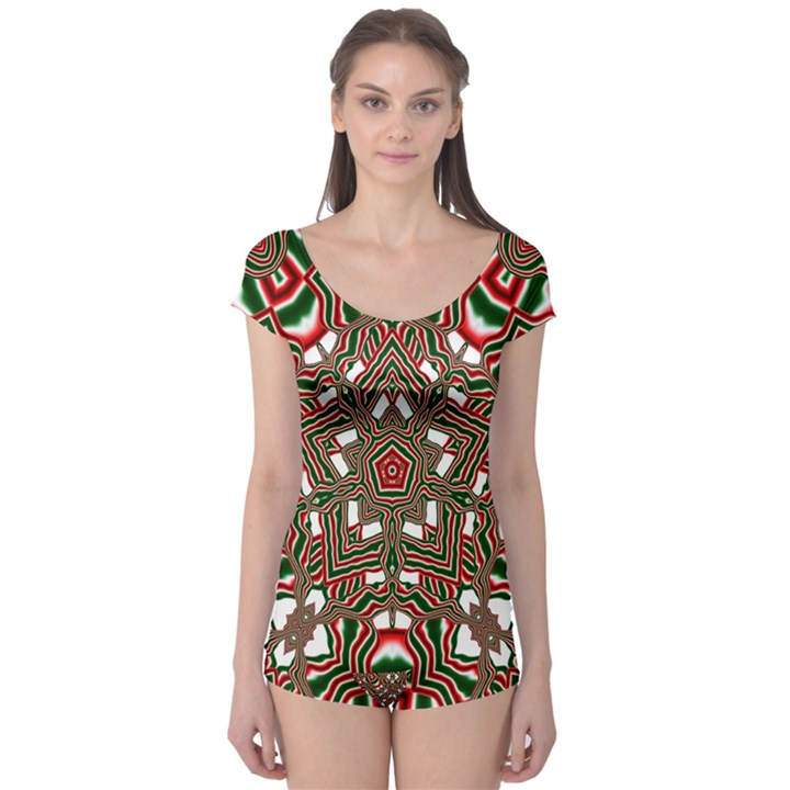 Christmas Kaleidoscope Boyleg Leotard
