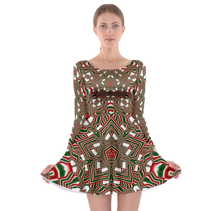 Christmas Kaleidoscope Long Sleeve Skater Dress