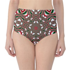 Christmas Kaleidoscope High-Waist Bikini Bottoms
