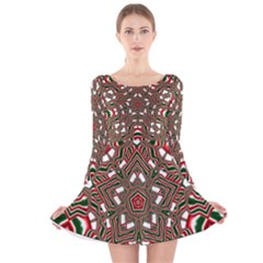Christmas Kaleidoscope Long Sleeve Velvet Skater Dress