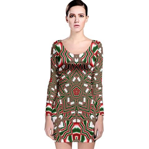 Christmas Kaleidoscope Long Sleeve Velvet Bodycon Dress