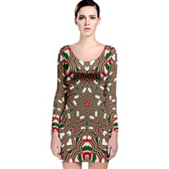 Christmas Kaleidoscope Long Sleeve Velvet Bodycon Dress