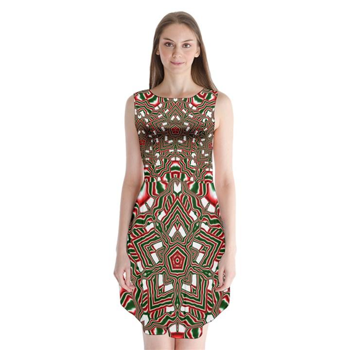 Christmas Kaleidoscope Sleeveless Chiffon Dress