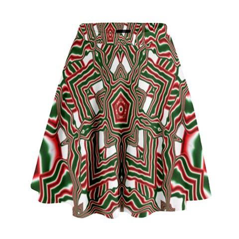 Christmas Kaleidoscope High Waist Skirt