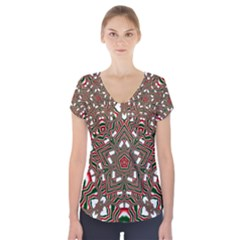 Christmas Kaleidoscope Short Sleeve Front Detail Top