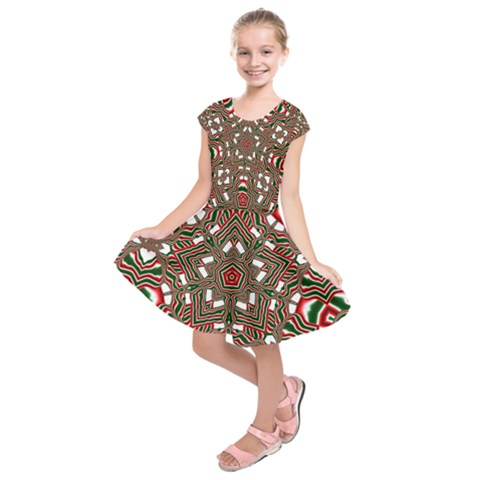 Christmas Kaleidoscope Kids  Short Sleeve Dress