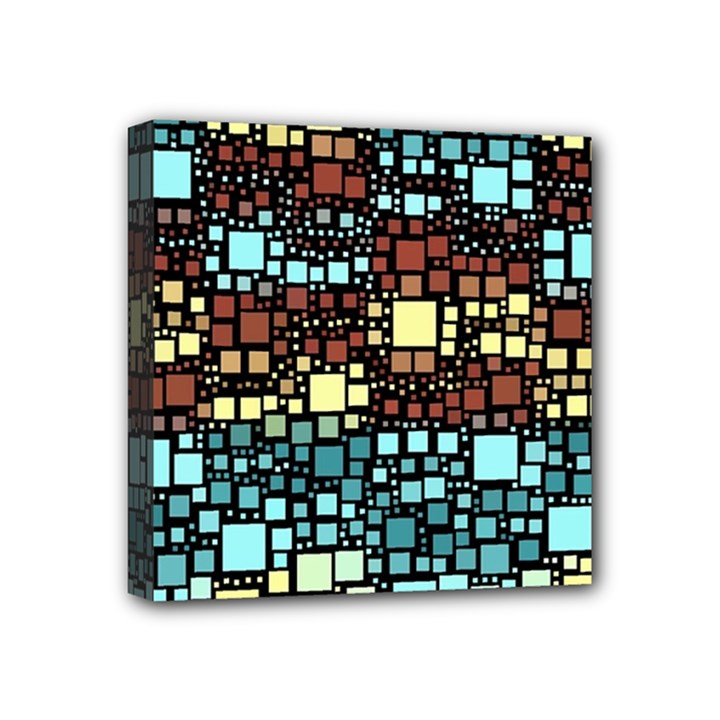 Block On Block, Aqua Mini Canvas 4  x 4
