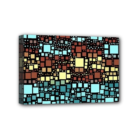Block On Block, Aqua Mini Canvas 6  x 4