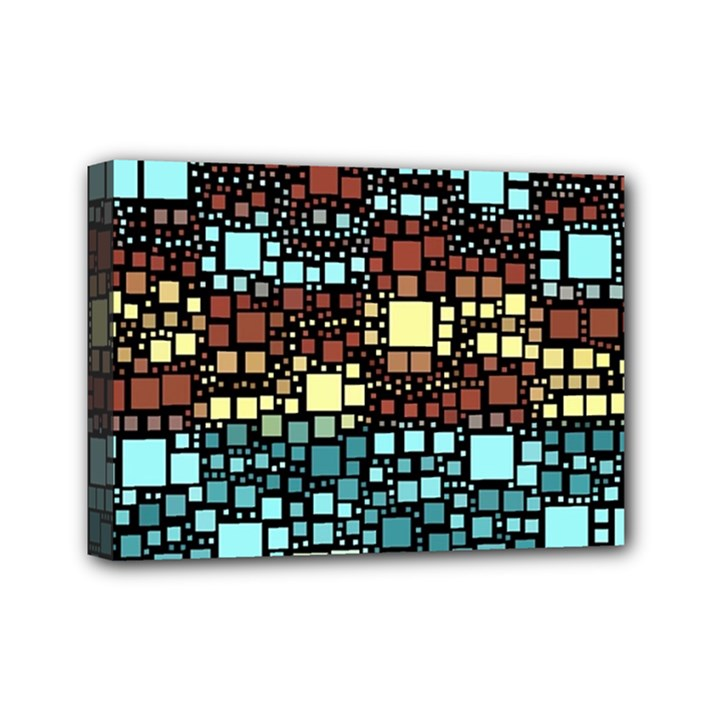 Block On Block, Aqua Mini Canvas 7  x 5
