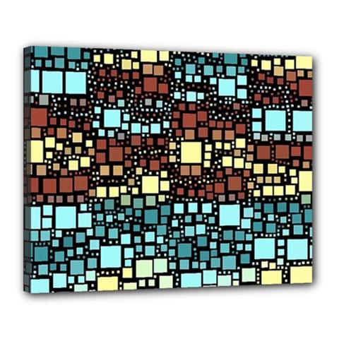 Block On Block, Aqua Canvas 20  X 16