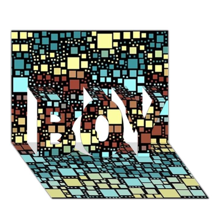 Block On Block, Aqua BOY 3D Greeting Card (7x5)