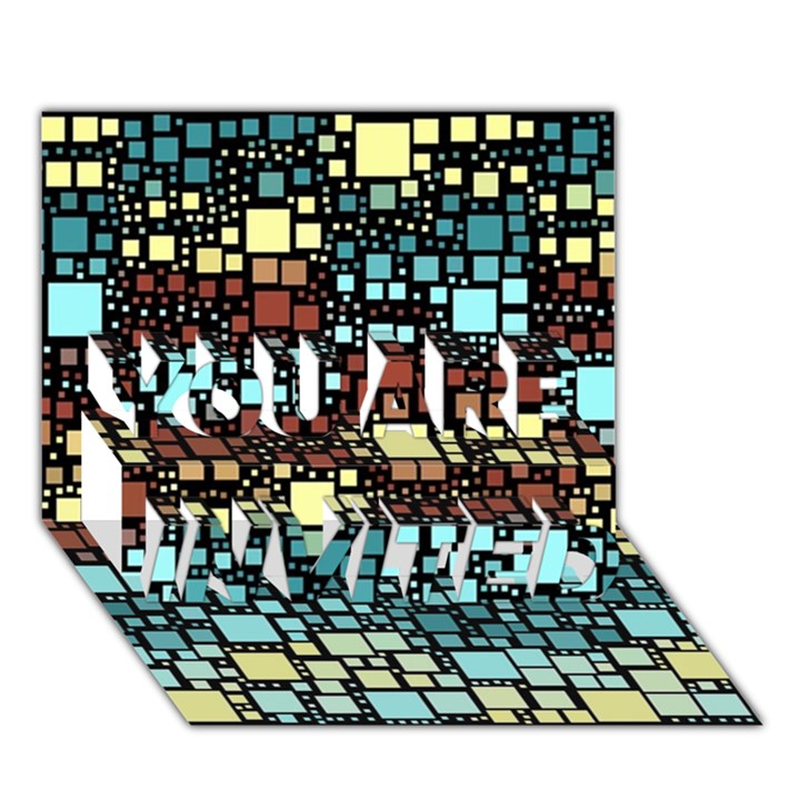 Block On Block, Aqua YOU ARE INVITED 3D Greeting Card (7x5)