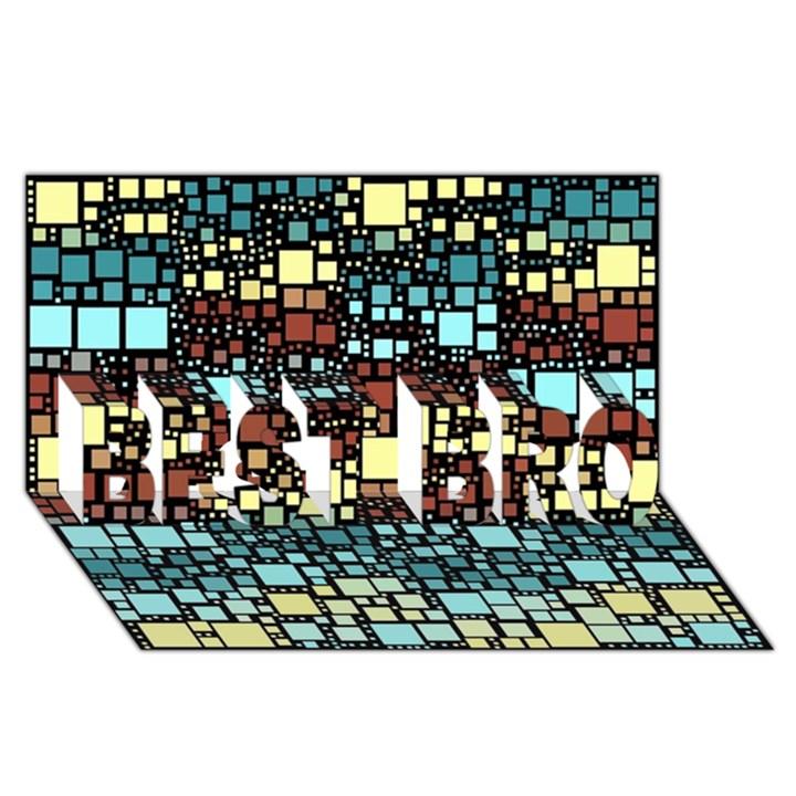 Block On Block, Aqua BEST BRO 3D Greeting Card (8x4)
