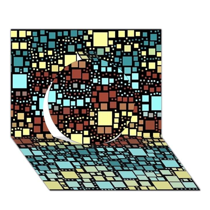 Block On Block, Aqua Circle 3D Greeting Card (7x5)