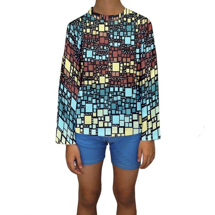 Block On Block, Aqua Kids  Long Sleeve Swimwear