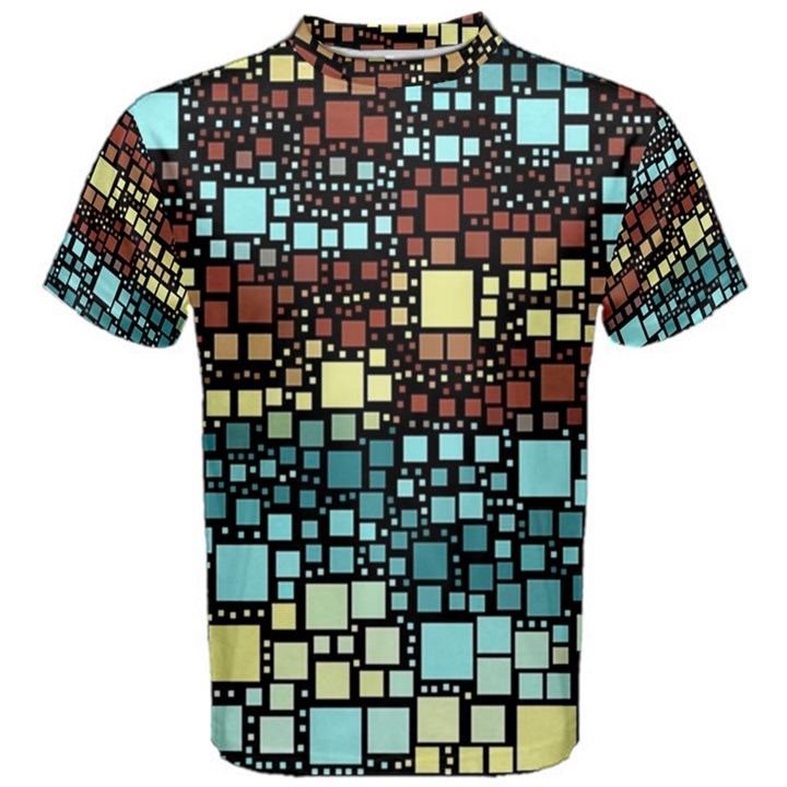 Block On Block, Aqua Men s Cotton Tee