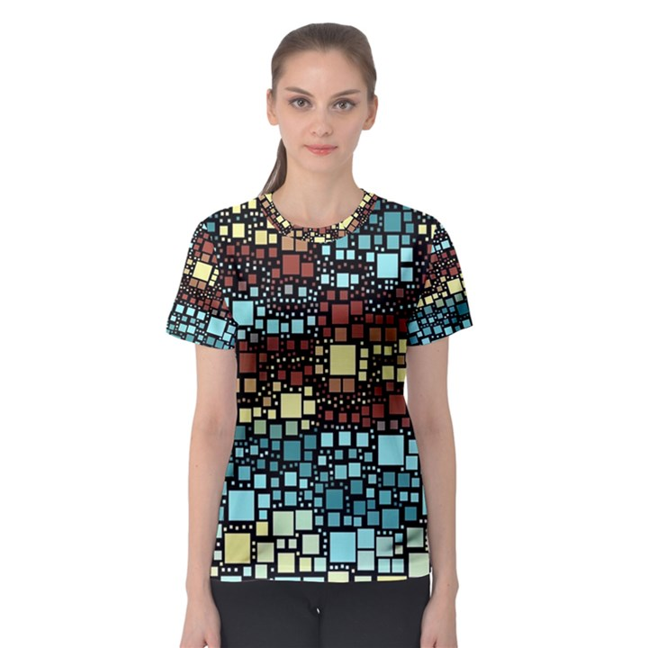 Block On Block, Aqua Women s Sport Mesh Tee