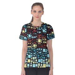 Block On Block, Aqua Women s Cotton Tee