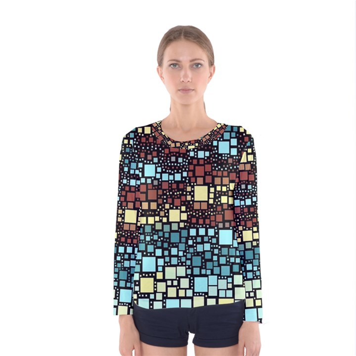 Block On Block, Aqua Women s Long Sleeve Tee