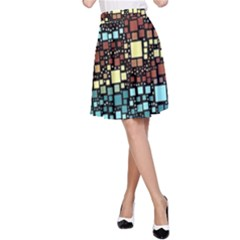 Block On Block, Aqua A-Line Skirt
