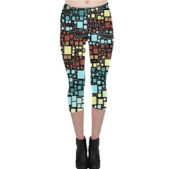 Block On Block, Aqua Capri Leggings
