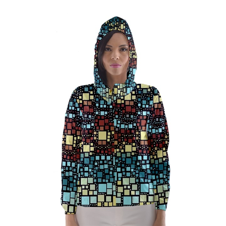 Block On Block, Aqua Hooded Wind Breaker (Women)