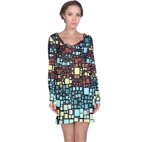 Block On Block, Aqua Long Sleeve Nightdress