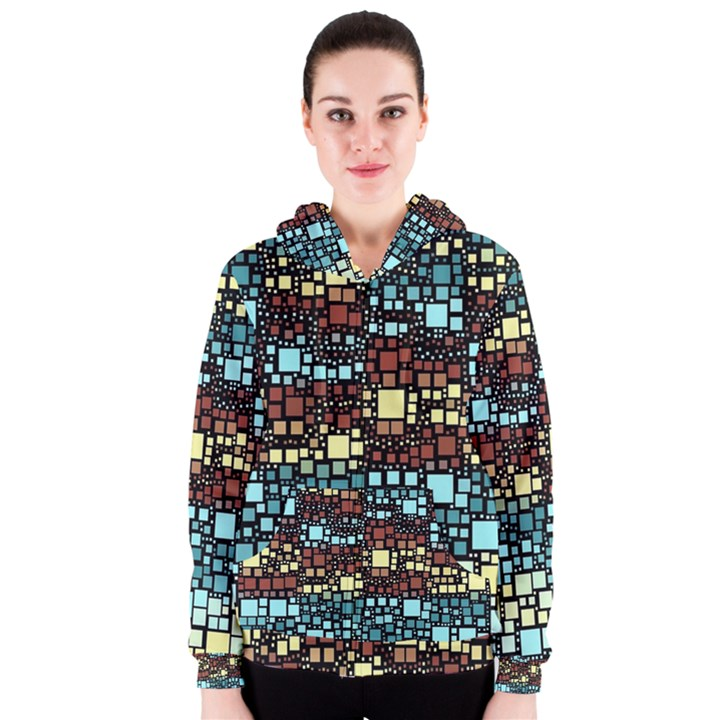 Block On Block, Aqua Women s Zipper Hoodie