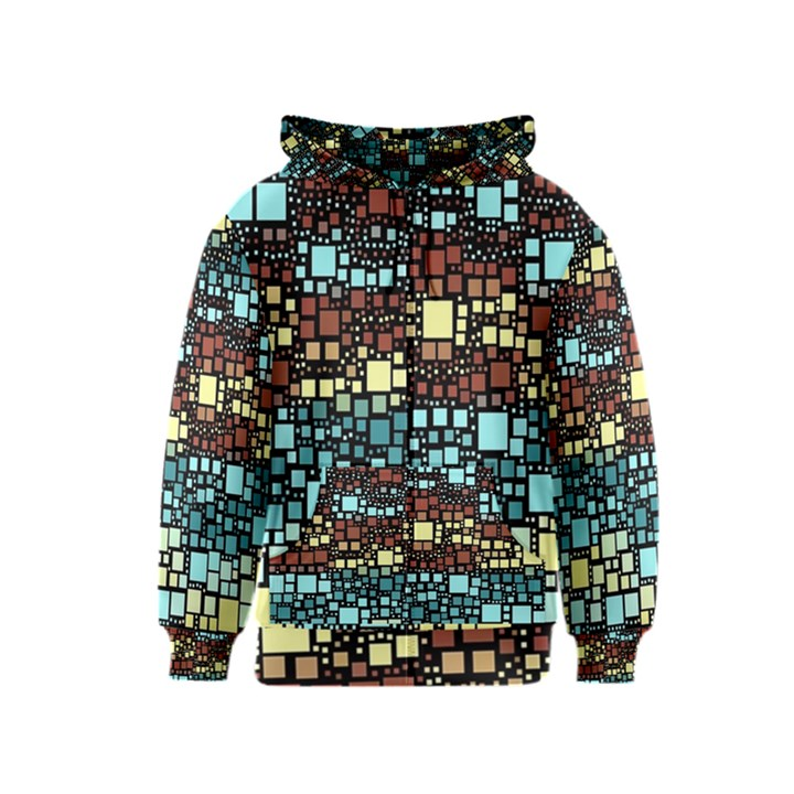Block On Block, Aqua Kids  Zipper Hoodie