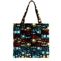 Block On Block, Aqua Zipper Grocery Tote Bag View1