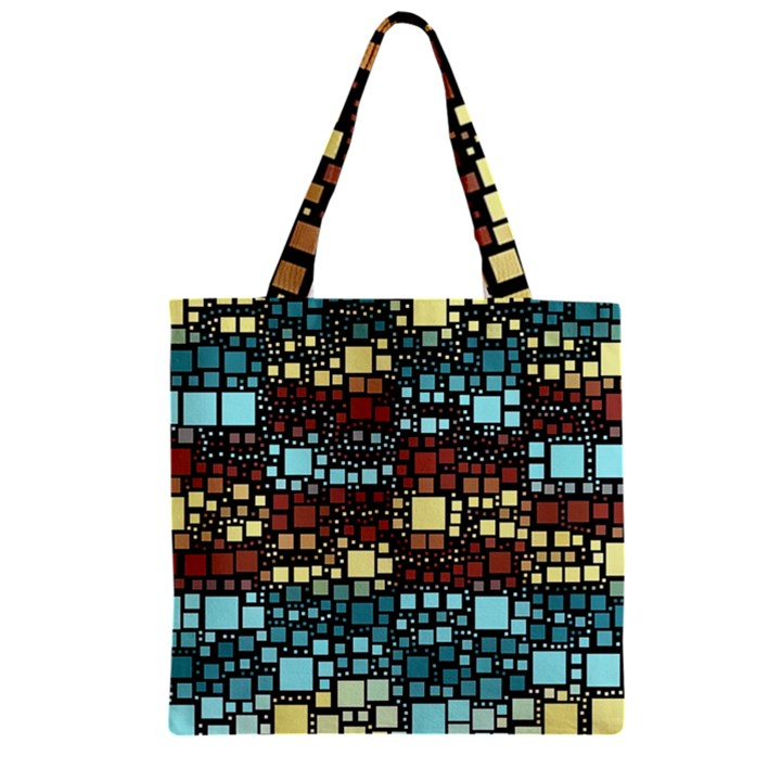 Block On Block, Aqua Zipper Grocery Tote Bag