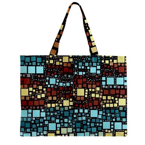 Block On Block, Aqua Zipper Mini Tote Bag