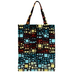 Block On Block, Aqua Zipper Classic Tote Bag