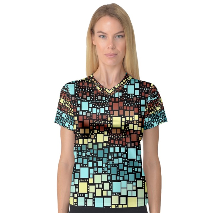 Block On Block, Aqua Women s V-Neck Sport Mesh Tee