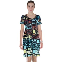 Block On Block, Aqua Short Sleeve Nightdress