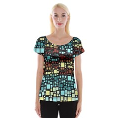 Block On Block, Aqua Women s Cap Sleeve Top