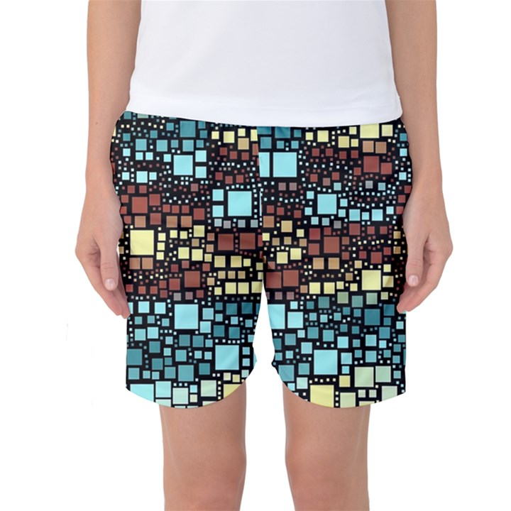 Block On Block, Aqua Women s Basketball Shorts