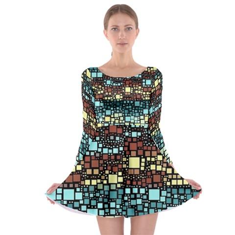 Block On Block, Aqua Long Sleeve Skater Dress