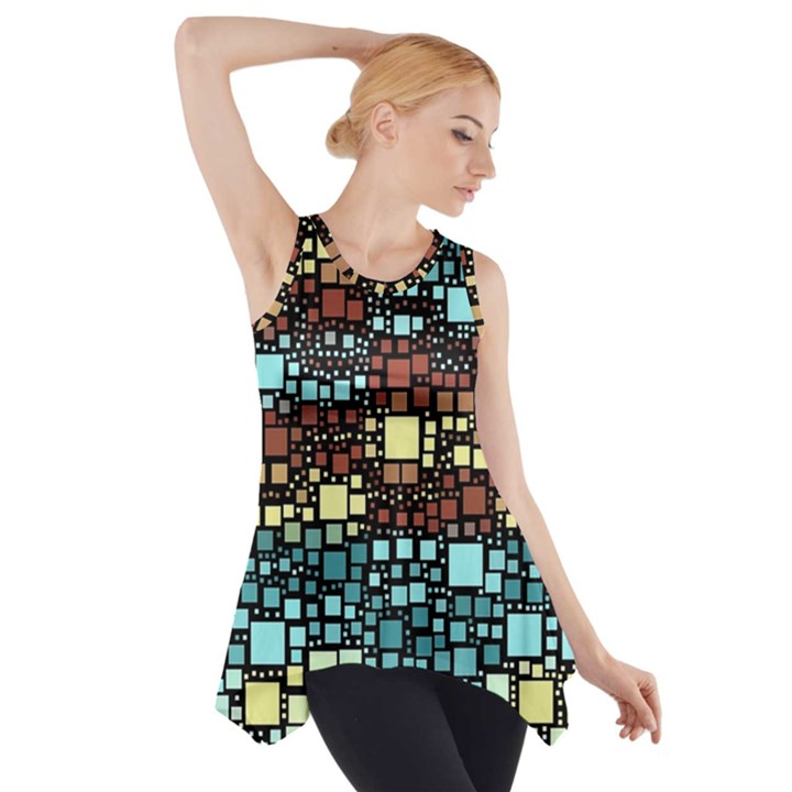 Block On Block, Aqua Side Drop Tank Tunic