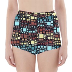 Block On Block, Aqua High Waisted Bikini Bottoms