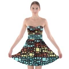 Block On Block, Aqua Strapless Bra Top Dress