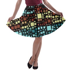 Block On Block, Aqua A-line Skater Skirt