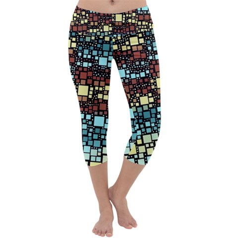 Block On Block, Aqua Capri Yoga Leggings