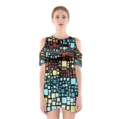 Block On Block, Aqua Cutout Shoulder Dress