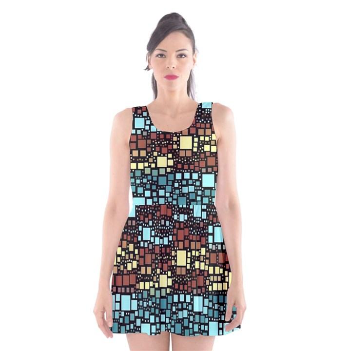 Block On Block, Aqua Scoop Neck Skater Dress